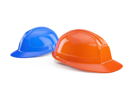 white person: blue and orange safety helmet isolated on white background