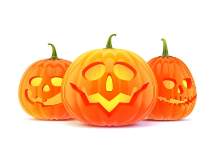 carved pumpkin: three halloween pumpkin, isolated on white background Stock Photo