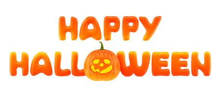 calabazas de halloween: Palabras Feliz Halloween con jack-o-linterna