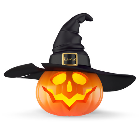 pumpkin face: halloween pumpkin with a witch hat isolated on white