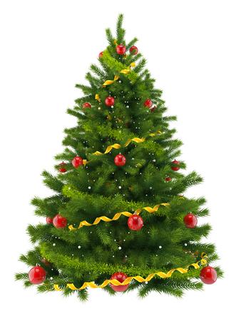 白い背景で隔離のクリスマス ツリー
