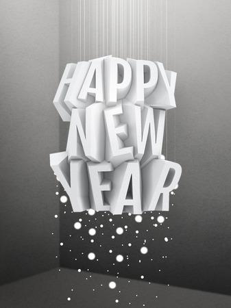 installation: Happy New Year vintage art installation Stock Photo