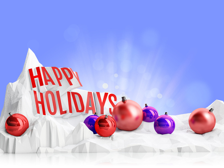 azure: happy holidays inscription with Xmas ball on a snowy mountain on a azure sky background Stock Photo