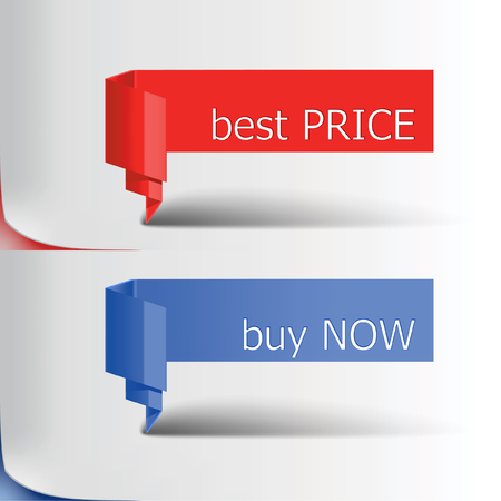 red  blue ribbon with commercial tags Illustration