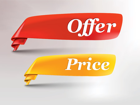 sale sticker: red  yellow ribbon with offer and price tag Illustration
