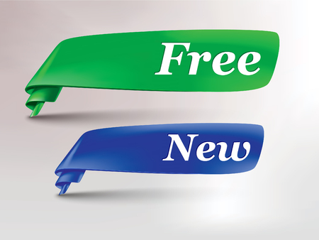 green  blue ribbon with free and new tag Stock fotó - 49935857