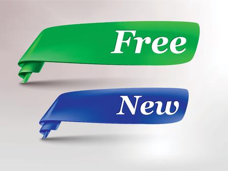 groen blauw lint met gratis en nieuwe tag Stock Illustratie
