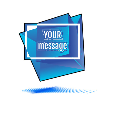 cutting sticker: blue abstract vector shape with place for your text
