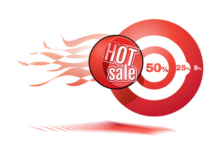 cannonball: red cannonball with hot sale tag flying in target with discount Illustration