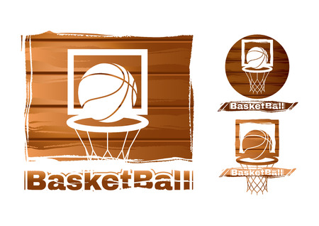 hoop: set of basketball labels Illustration