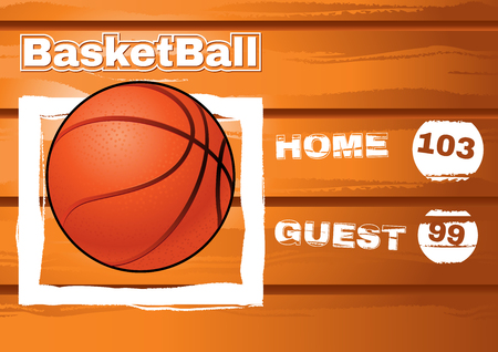 backboard: old wood backboard for basketball with ball and team score