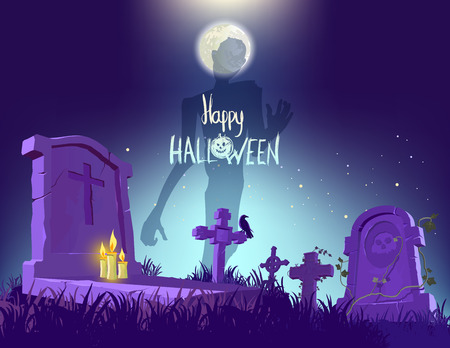 stone background: Happy Halloween poster, vector illustration