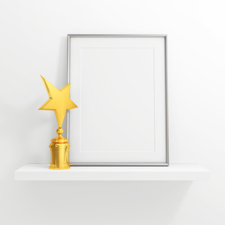 shelves: gold star award and blank photo frame on white shelf on white background