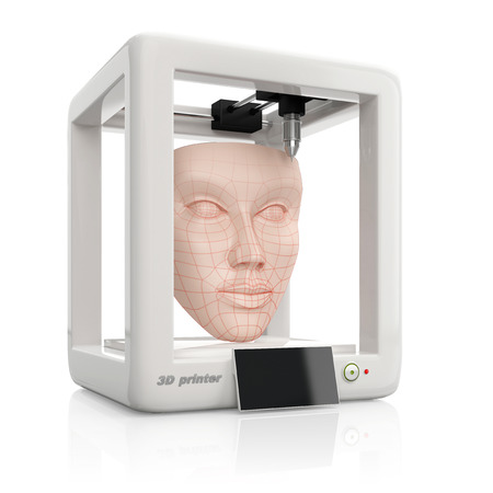 3D 프린터, 그림 흰색 배경에 격리를 사용 하여 인간의 피부 얼굴을 만드는 프로세스