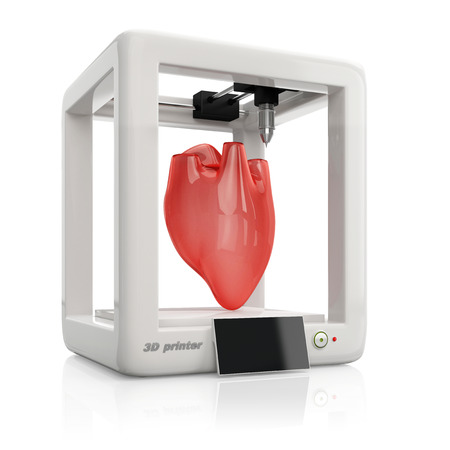 man made object: process of creating human hearts using 3D printer, illustration isolated on white background