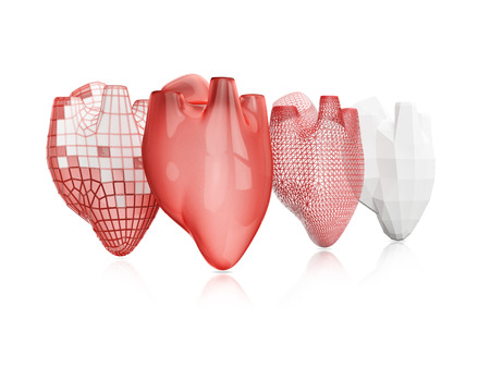 man made object: bioprinting technology. process of creating human hearts isolated on white background