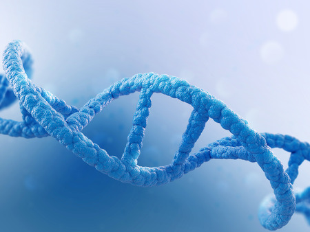 replication: DNA molecule on blue background