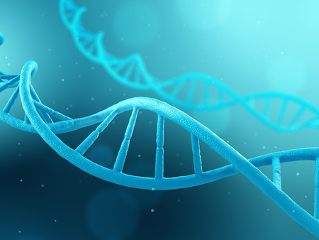 deoxyribonucleic: DNA molecule on blue background