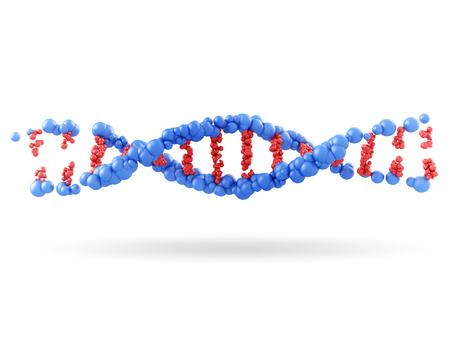 흰색 배경에 DNA 분자의 일부