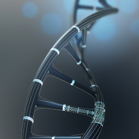 Artificial DNA molecule, the concept of artificial intelligence, on a dark background