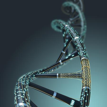 어두운 배경에 인공 DNA 분자, 인공 지능의 개념