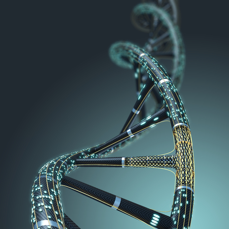 a structure: Artificial DNA molecule, the concept of artificial intelligence, on a dark background