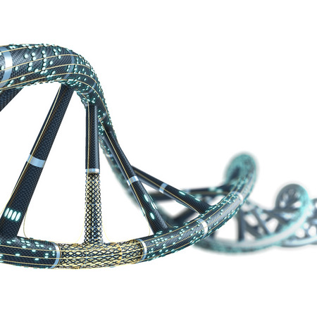 Artificial DNA molecule, the concept of artificial intelligence, on a white background
