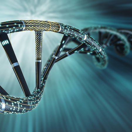artificial: Artificial DNA molecule, the concept of artificial intelligence, on a dark background
