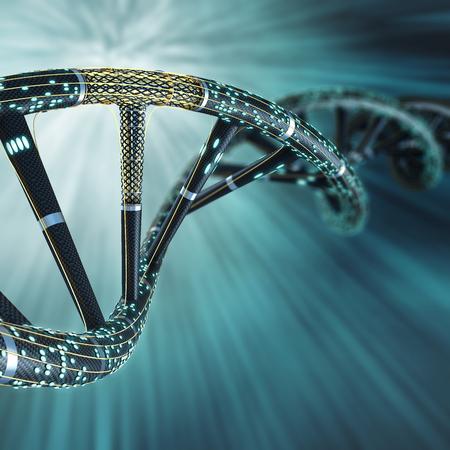 Kunstmatige DNA-molecuul, het concept van de kunstmatige intelligentie, op een donkere achtergrond