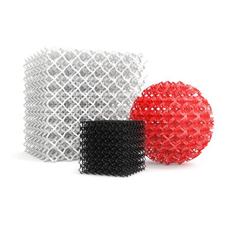 3 D プリンター、白い背景で隔離によって作られた幾何学的なオブジェクト