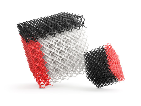 possibilities: demonstrate the possibilities of 3D printer, complex geometric objects on a white background