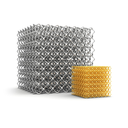 metal processing: Cell cube made of steel and gold. Porosity structure isolated on white background