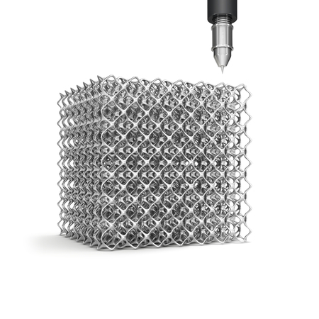 Cell cube made of steel and metering tool isolated on white background