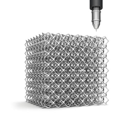 imprenta: cubo de la célula de acero y una herramienta de medición aislada en el fondo blanco Foto de archivo