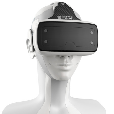 Unusual virtual reality headset with integrated headphones on a white robot. 3d concept isolated on white background. Front view