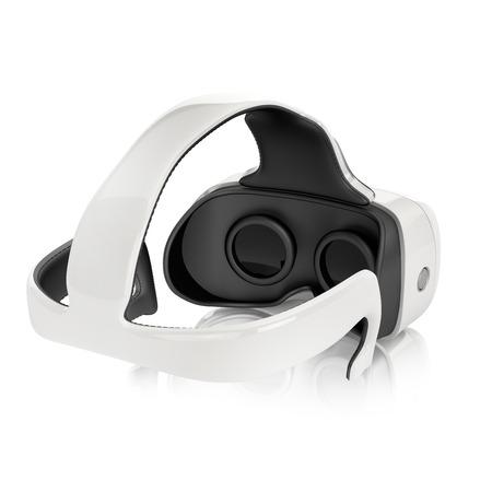 virtual reality-headset met geïntegreerde hoofdtelefoon. achteraanzicht op witte achtergrond