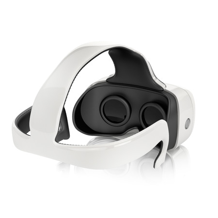 virtual reality headset with integrated headphones. back view on white background