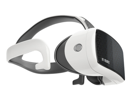 virtual reality headset with  integrated headphones. side view on white background