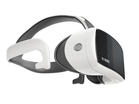 virtual reality headset met geïntegreerde koptelefoon. zijaanzicht op een witte achtergrond