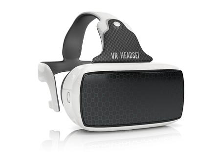 Virtual reality headset met geïntegreerde koptelefoon. Vooraanzicht op een witte achtergrond