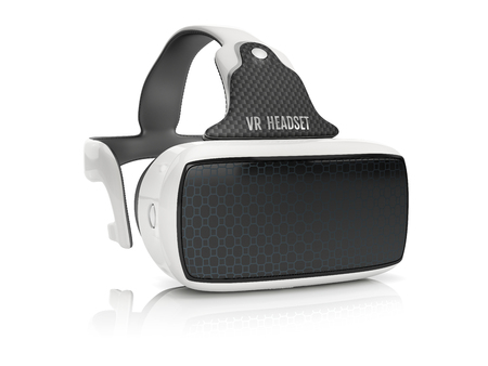 virtual reality headset with integrated headphones. front view on white background