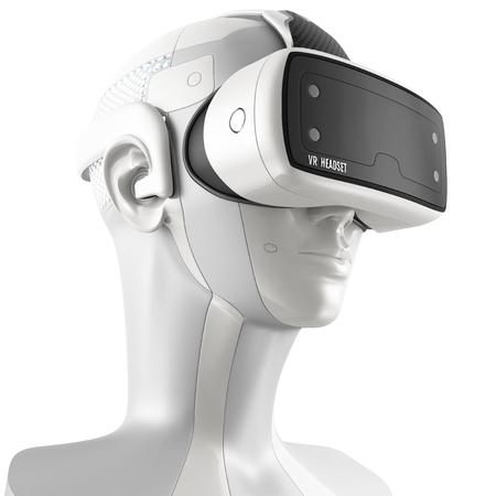 Ungewöhnliche Virtual-Reality-Headset mit integriertem Kopfhörer auf einem weißen Roboter. 3D-Konzept auf weißem Hintergrund. Dreiviertelansicht.