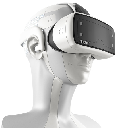 robot: Unusual virtual reality headset with integrated headphones on a white robot. 3d concept isolated on white background. Three-quarter view.
