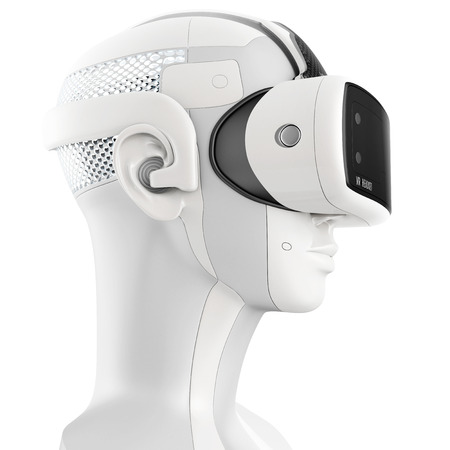 Unusual virtual reality headset with integrated headphones on a white robot. 3d concept isolated on white background. Side view Stockfoto