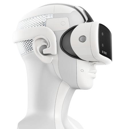 Ongebruikelijke virtual reality headset met geïntegreerde koptelefoon op een witte robot. 3D-concept op een witte achtergrond. Zijaanzicht Stockfoto