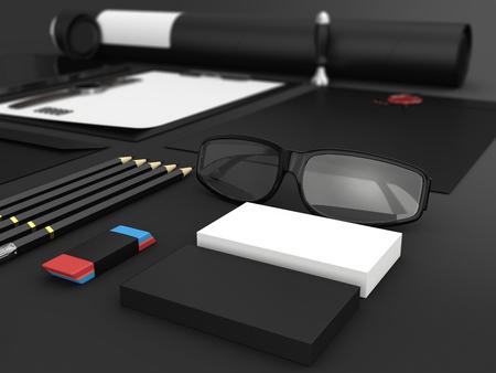 papeleria: Identidad maqueta. Conjunto de artículos de papelería en blanco para la marca de identidad en el fondo negro. De cerca. Papel A4, papel con membrete, tarjetas de visita, tubo. render 3D.