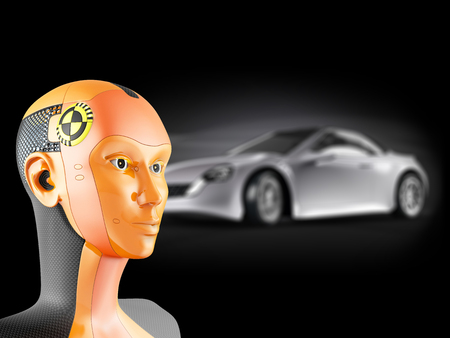 governed: Crash test dummy with car on black background. Modern robot with artificial intelligence symbolizes the safety of the car