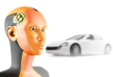 governed: Crash test dummy with car on white background. Modern robot with artificial intelligence symbolizes the safety of the car