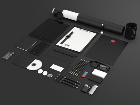 stationary: Identity mock up. Set of blank stationery for branding identity on black background. Tablet, smart phone, smart watch, paper A4, CD envelope, letterhead, flash drive, business cards, tube. 3D render.
