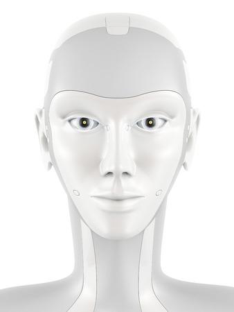 Cabeza robótica mirando a la cámara. La cara de robot con ojos brillantes. vista frontal aislado en el fondo blanco. Foto de archivo - 53096581